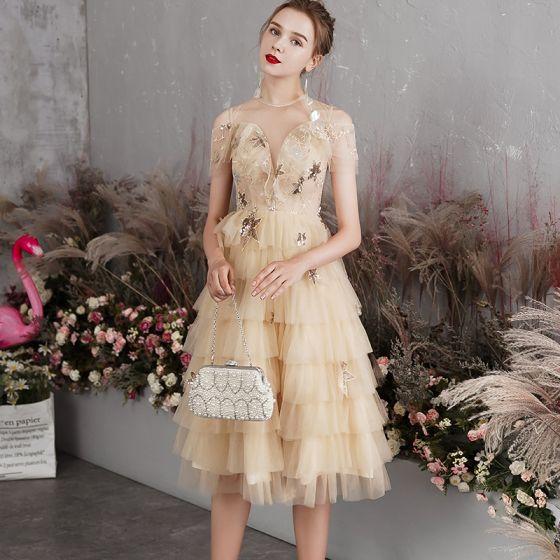 Charming Champagne Prom Dresses 2019 A-Line / Princess See-through Deep V-Neck Short Sleeve Sequins Flower Short Cascading Ruffles Backless Formal Dresses