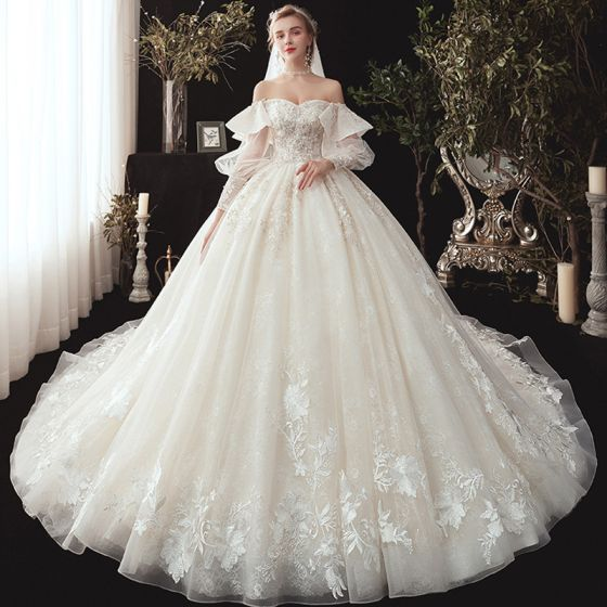 Victorian Style Champagne Wedding Dresses 2020 Ball Gown Off The