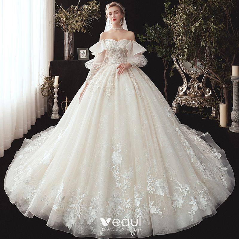 new design order brand new Victorian Style Champagne Wedding Dresses 2020 Ball Gown Off-The-Shoulder  Puffy Long Sleeve Backless Glitter Tulle Appliques Lace Beading Chapel  Train ...