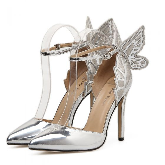 Charming Silver Evening Party Butterfly