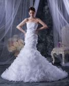 Satin Yarn Tiered Ruched Ruffles Strapless Cathedral Train Mermaid Wedding Dresses