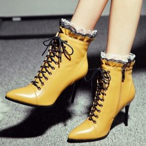 Fashion Yellow Casual Womens Boots 2020 Leather Lace 9 cm Stiletto Heels Pointed Toe Boots