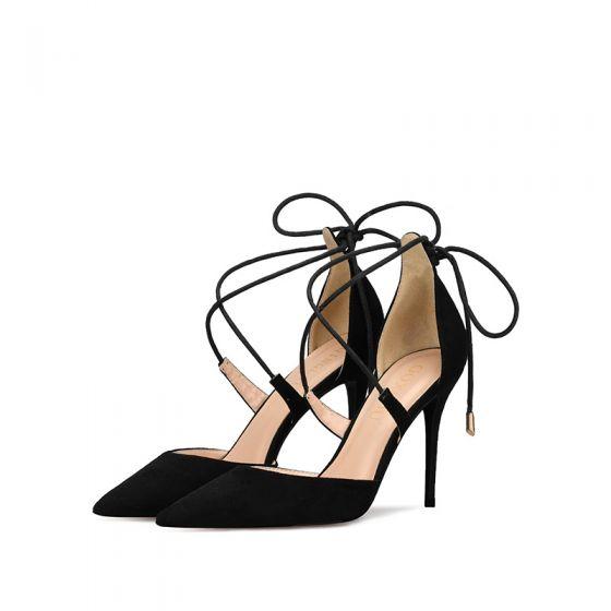 Mooie / Prachtige Toevallig Zwarte Sandalen Dames 2019 Suede X-Strap Strik 10 cm Naaldhakken / Stiletto Spitse Neus Hoge Hakken