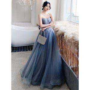 Classy Sky Blue Evening Dresses  2020 A-Line / Princess Strapless Sleeveless Backless Floor-Length / Long Formal Dresses