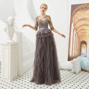 Illusion Brown See-through Evening Dresses  2019 A-Line / Princess Scoop Neck 1/2 Sleeves Sash Appliques Lace Floor-Length / Long Cascading Ruffles Formal Dresses
