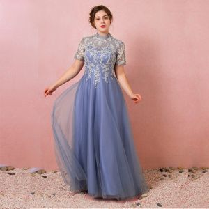 Chic / Beautiful Ocean Blue Plus Size Prom Dresses 2018 A-Line / Princess Summer Short Sleeve Tulle Lace-up Scoop Neck Crossed Straps Appliques Backless Evening Party Evening Dresses