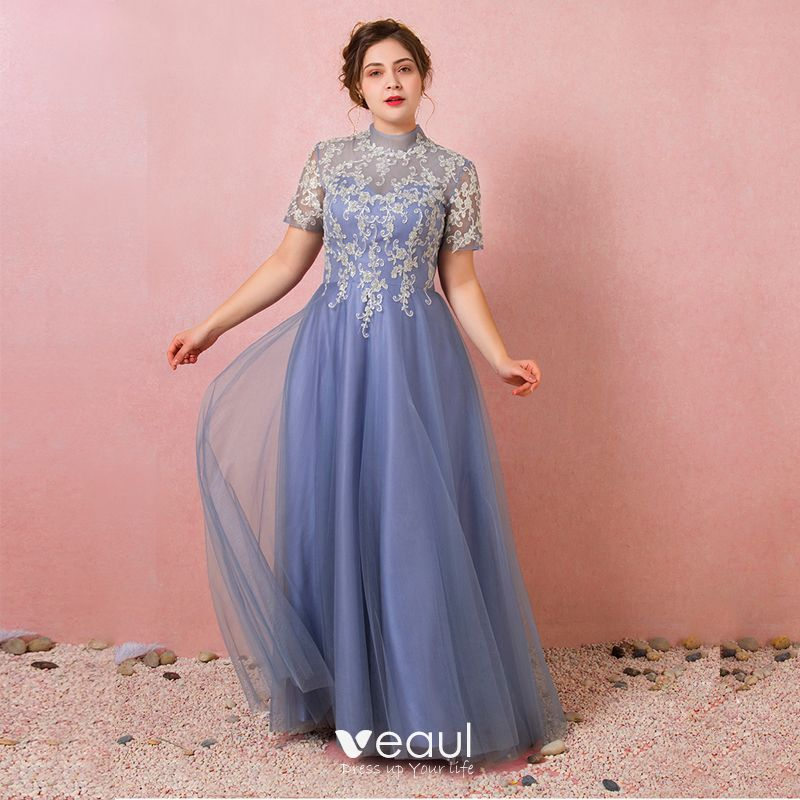 Chic / Beautiful Ocean Blue Plus Size Prom Dresses 2018 A-Line / Princess  Summer Short Sleeve Tulle Lace-up Scoop Neck Crossed Straps Appliques ...
