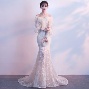 Elegante Champagner Abendkleider 2018 Mermaid Off Shoulder Lange Ärmel Applikationen Blumen Perle Sweep / Pinsel Zug Rüschen Rückenfreies Festliche Kleider