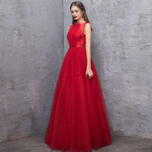 Chic / Beautiful Red Evening Dresses  2019 A-Line / Princess Scoop Neck Sleeveless Backless Beading Sash Floor-Length / Long Ruffle Formal Dresses