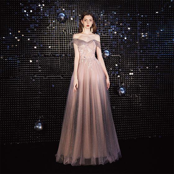 Elegant Rødmende Rosa Selskapskjoler 2020 Prinsesse Av Skulderen Beading Paljetter Blonder Blomst Korte Ermer Ryggløse Lange Formelle Kjoler