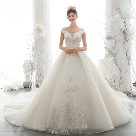 Luxury / Gorgeous Champagne Wedding Dresses 2020 Ball Gown Off-The-Shoulder Beading Rhinestone Sequins Lace Flower Appliques Sleeveless Backless Royal Train