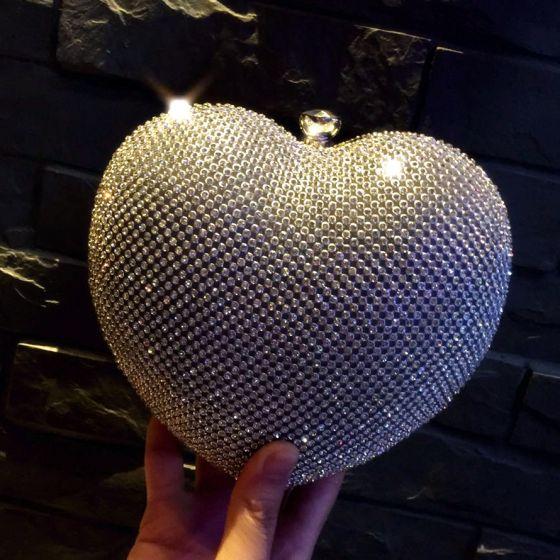 Bling Bling Silver Glitter Rhinestone Heart-shaped Clutch Bags 2018