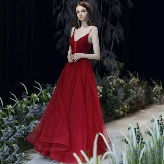 Sexy Burgundy Prom Dresses 2020 A-Line / Princess Spaghetti Straps Deep V-Neck Sleeveless Beading Glitter Tulle Sash Floor-Length / Long Ruffle Backless Formal Dresses