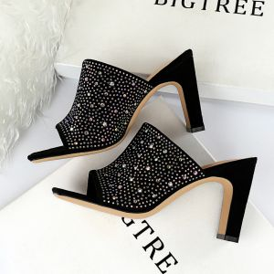 Chic / Beautiful Black Casual Womens Sandals 2019 Rhinestone 8 cm Thick Heels Open / Peep Toe Sandals
