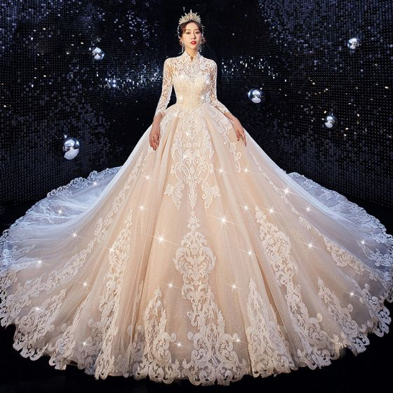 Chinese style Champagne Wedding Dresses 2020 Ball Gown High Neck 3/4 Sleeve Pierced Appliques Lace Glitter Tulle Cathedral Train