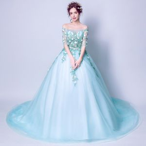 Flower Fairy Pool Blue Prom Dresses 2018 Ball Gown Off-The-Shoulder 3/4 Sleeve Flower Appliques Lace Chapel Train Ruffle Backless Formal Dresses