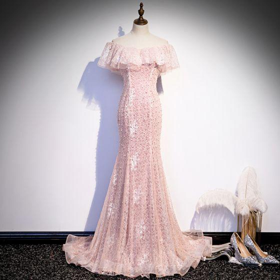 Najlepiej Różowy Perłowy Koronkowe Sukienki Wieczorowe 2020 Syrena / Rozkloszowane Przy Ramieniu Kótkie Rękawy Frezowanie Trenem Sweep Wzburzyć Bez Pleców Sukienki Wizytowe