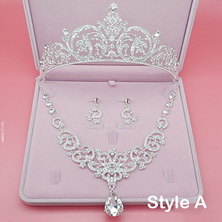 Chic / Beautiful Bridal Jewelry 2017 Silver Crystal Rhinestone Metal Tiara Earrings Necklace