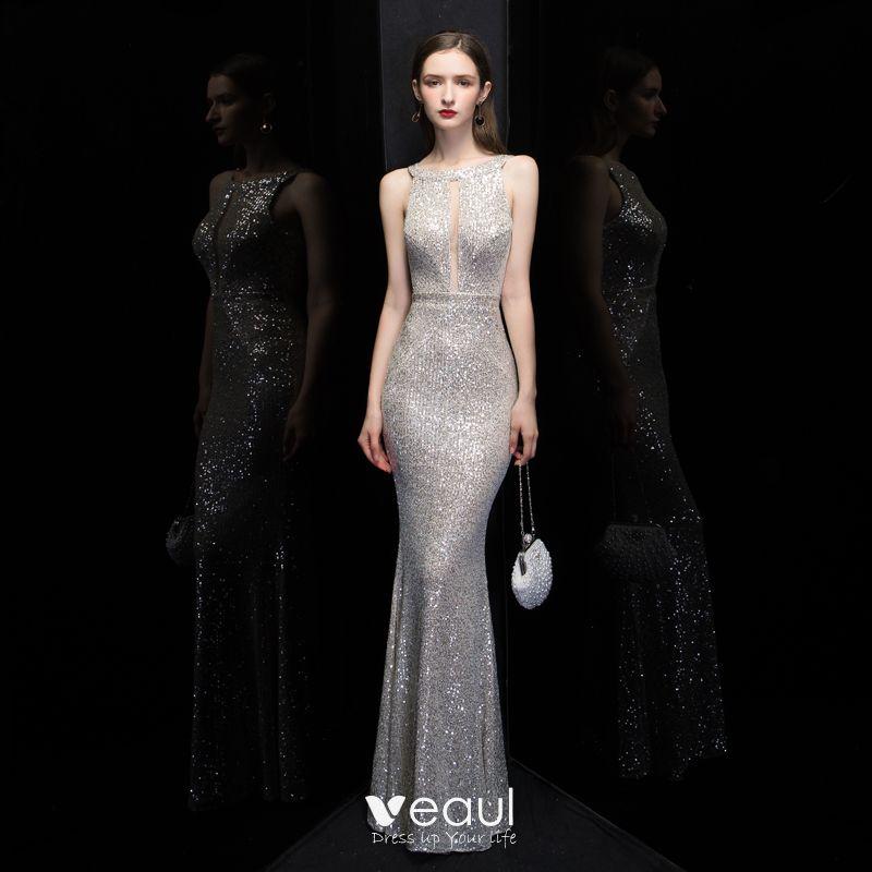 Mode Silber Pailletten Abendkleider 2020 Meerjungfrau Eckiger Ausschnitt Ärmellos Lange Rückenfreies Festliche Kleider