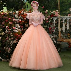 Affordable Pearl Pink Prom Dresses 2019 Ball Gown Scoop Neck Lace Appliques Pearl Short Sleeve Backless Floor-Length / Long Formal Dresses