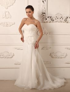 2015 Charming A-line Sweetheart Flower Simple Wedding Dress Bridal Gown