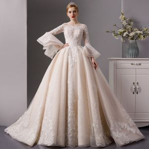 Luxury / Gorgeous Champagne See-through Wedding Dresses 2019 Ball Gown Square Neckline Bell sleeves Backless Appliques Lace Beading Cathedral Train Ruffle