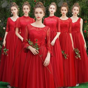 Affordable Red Bridesmaid Dresses 2019 A-Line / Princess Sash Appliques Lace Floor-Length / Long Backless Wedding Party Dresses