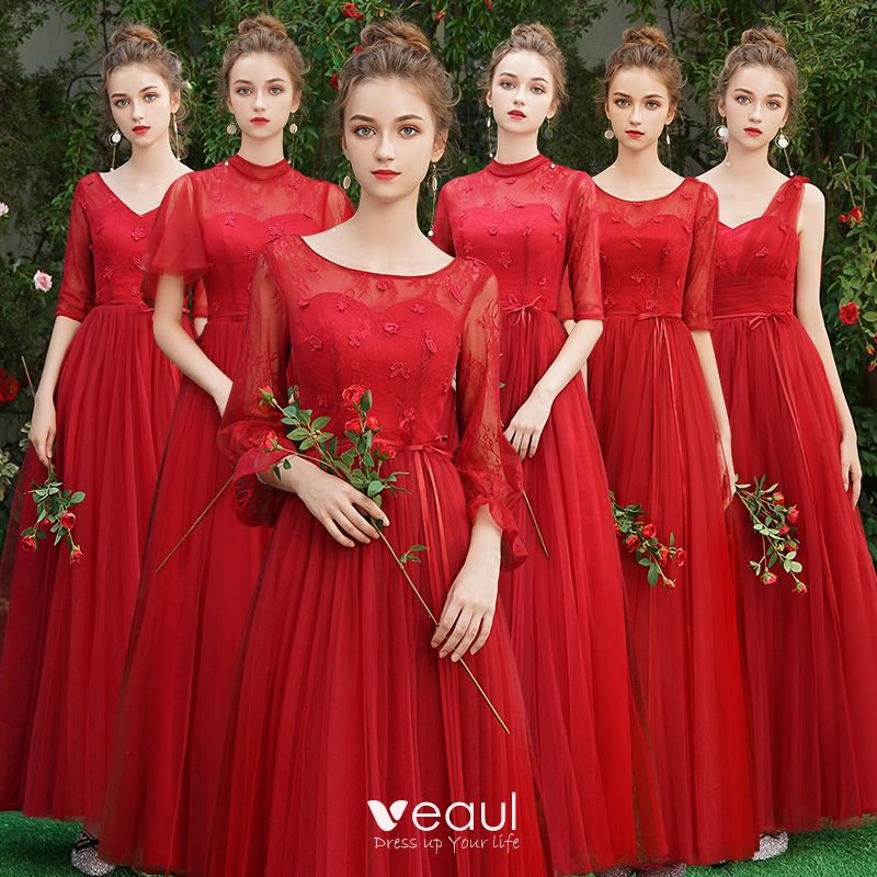 Affordable Red Bridesmaid Dresses 2019 A Line Princess Sash Appliques Lace Floor Length Long Backless Wedding Party Dresses,Cocktail Dress For Winter Wedding