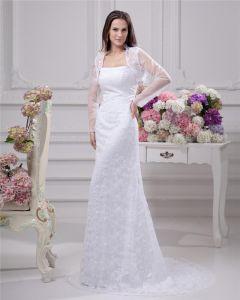 Elegant Strapless Satin Yarn Lace Floor Length Solid Court Train Sheath Wedding Dress