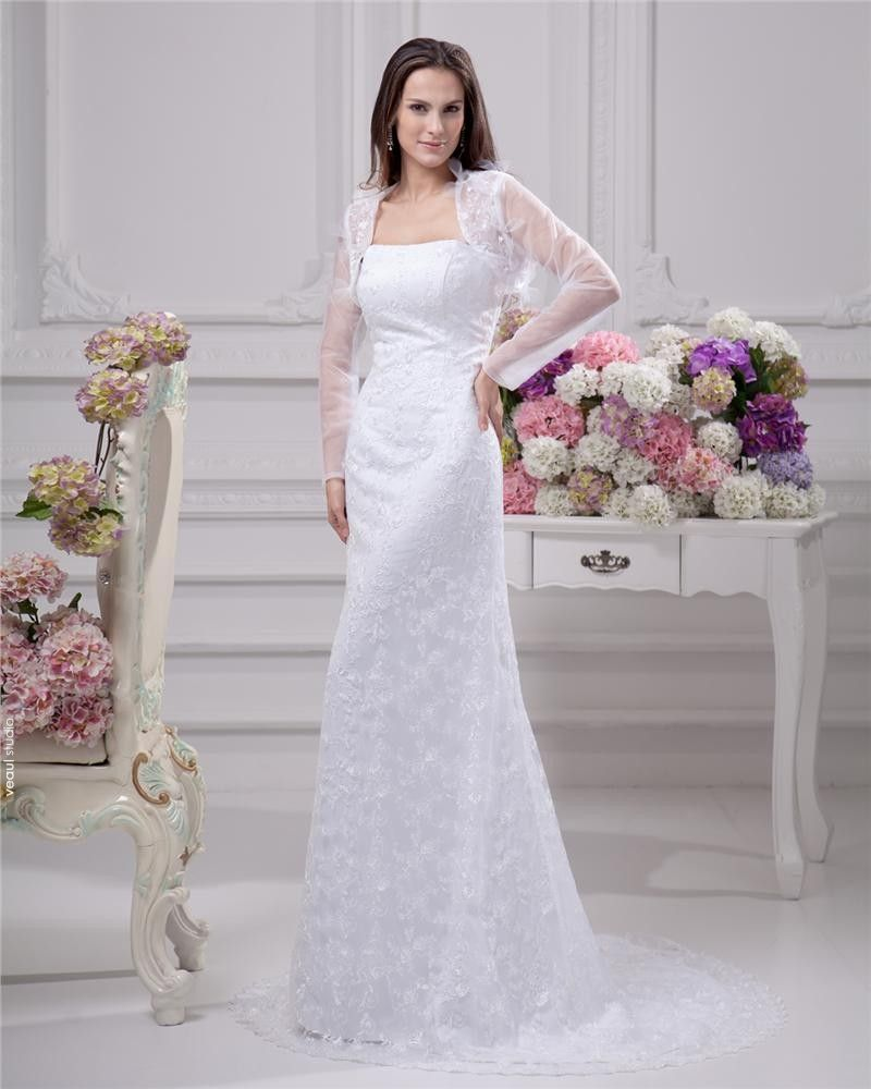 Elegant Strapless Satin Yarn Lace Floor Length Solid Court Train Sheath Wedding Dress
