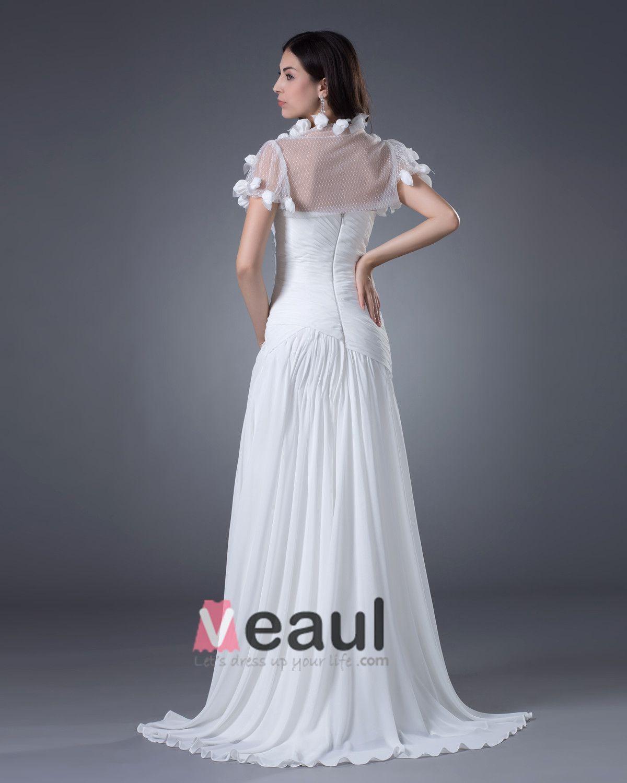 Chiffon Flowers Sweetheart Floor Length Sheath Wedding Dresses