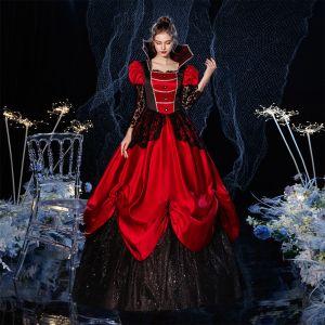 Vintage / Originale Médiévale Gothique Bling Bling Rouge Robe Boule Robe De Bal 2021 Manches Longues Encolure Carrée Longue Perlage Fleur Paillettes Dentelle Cosplay Promo Robe De Ceremonie