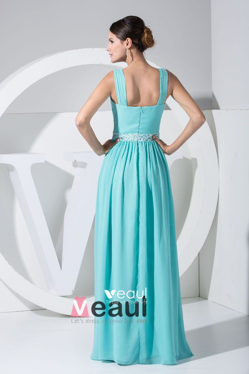 Chiffon Spaghetti Straps Beading Sleeveless Zipper Floor Length Pleated Evening Dress