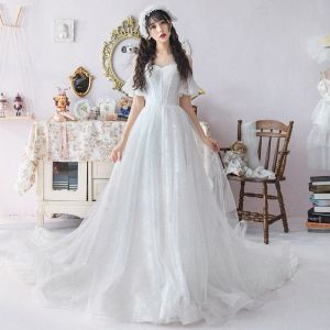 Modest / Simple White See-through Wedding Dresses 2019 A-Line / Princess Scoop Neck Short Sleeve Appliques Lace Cathedral Train Ruffle