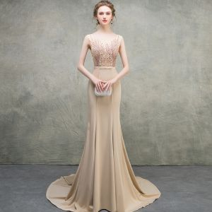 Luxury / Gorgeous Khaki Evening Dresses  2018 Trumpet / Mermaid Scoop Neck Sleeveless Appliques Lace Beading Bow Sash Court Train Ruffle Backless Formal Dresses