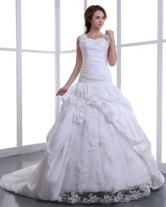 Kvadrat Taft Broderi Parla Katedralen Tag A-linje Brudklänningar Bröllopsklänningar
