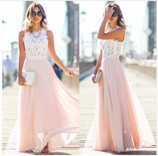 44e36d711c5db3 Charming Blushing Pink Summer Maxi Dresses 2018 A-Line   Princess Lace  Pleated Scoop Neck Sleeveless ...