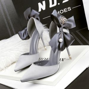 Chic / Beautiful Grey Evening Party Womens Shoes 2019 Bow Pearl 10 cm Stiletto Heels Pointed Toe High Heels