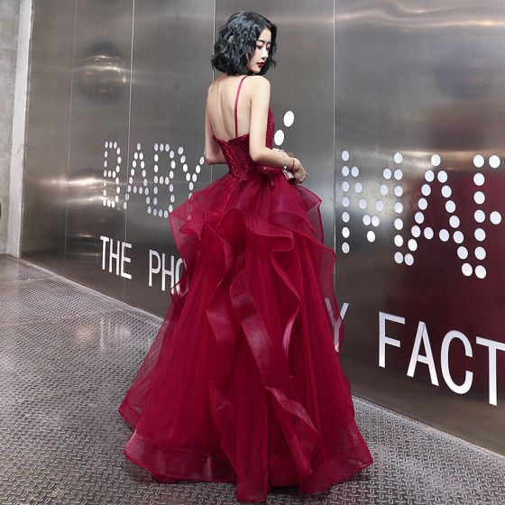 Sexy Burgundy Prom Dresses 2020 A-Line / Princess Spaghetti Straps Sleeveless Appliques Lace Beading Floor-Length / Long Ruffle Backless Formal Dresses