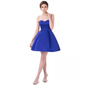 Sexy Royal Blue Cocktail Dresses 2018 A-Line / Princess Sweetheart Sleeveless Backless Short Formal Dresses