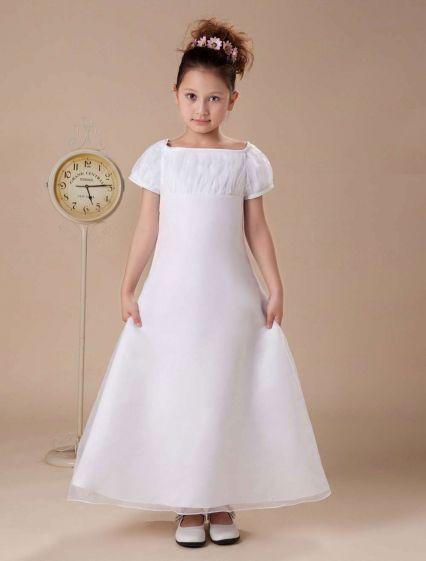 6b290c9387ba7 Manches Courtes Chiffon Satin Blanc Robe Ceremonie Fille Robe Fille Mariage