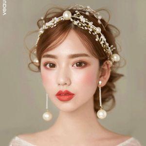 Mooie / Prachtige Goud Metaal Ivoor Parel Hoofdbanden Bruidssieraden 2020 Kralen Haaraccessoires Oorbellen Huwelijk Accessoires
