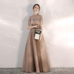 Vintage / Retro Champagne Evening Dresses  2020 A-Line / Princess High Neck Short Sleeve Beading Floor-Length / Long Ruffle Backless Formal Dresses