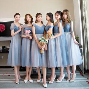 Piękne Błękitne Sukienki Dla Druhen 2018 Princessa Rhinestone Szarfa Długość Herbaty Wzburzyć Bez Pleców Sukienki Na Wesele