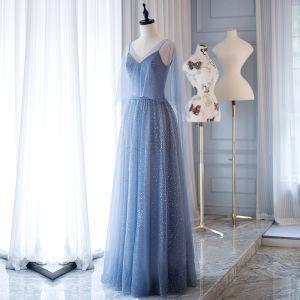 Modern / Fashion Ocean Blue Evening Dresses  2018 A-Line / Princess Glitter Spaghetti Straps Backless Sleeveless Floor-Length / Long Formal Dresses