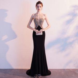 Uroczy Czarne Sukienki Wieczorowe 2019 Syrena / Rozkloszowane Wycięciem Frezowanie Rhinestone Cekiny Bez Rękawów Bez Pleców Trenem Sweep Sukienki Wizytowe