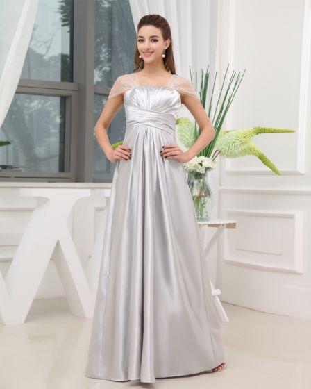 Square Ruffle Beading Wrap Shoulder Zipper Floor Length Taffeta Woman Evening Party Dress