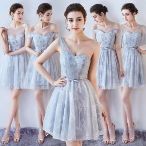 Chic / Beautiful Summer Grey Bridesmaid Dresses 2018 A-Line / Princess Lace Sleeveless Backless Short Wedding Party Dresses