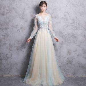 Elegant Champagne Evening Dresses  2017 A-Line / Princess Scoop Neck Long Sleeve Appliques Lace Beading Pearl Court Train Backless Pierced Formal Dresses