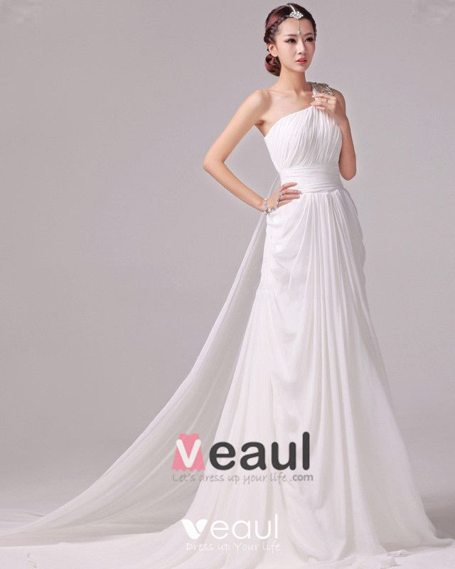 Elegant Solid Ruffles Beading One Shoulder Charmeuse A Line Wedding Dress